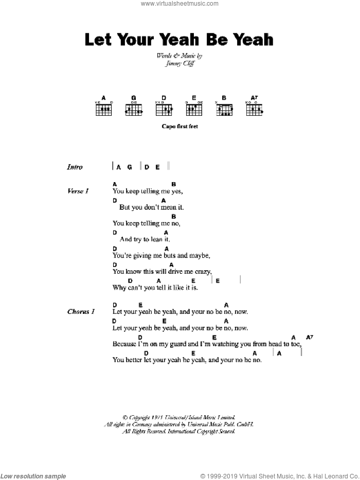 Let Your Yeah Be Yeah sheet music for guitar (chords) by The Pioneers and Jimmy Cliff, intermediate. Score Image Preview.