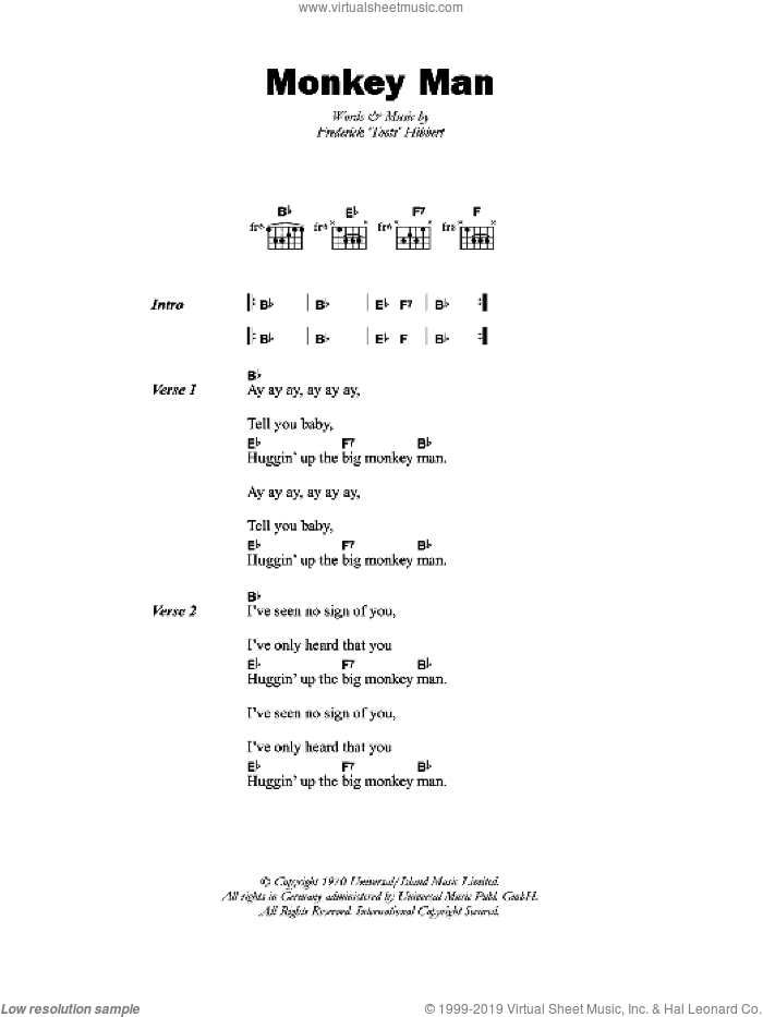 Monkey Man sheet music for guitar (chords) by Toots & The Maytals and Frederick 'Toots' Hibbert, intermediate
