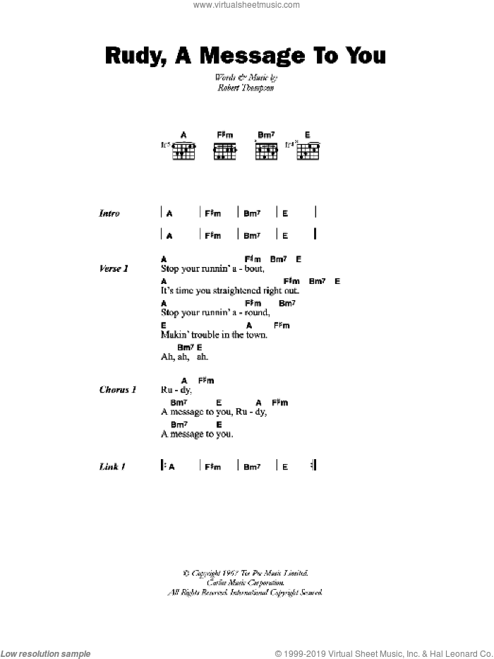 Rudy, A Message To You sheet music for guitar (chords) by Robert Thompson. Score Image Preview.