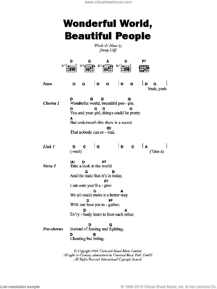 Cliff - Wonderful World, Beautiful People sheet music for guitar ...