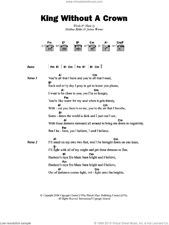 Matisyahu - King Without A Crown sheet music for guitar (chords)