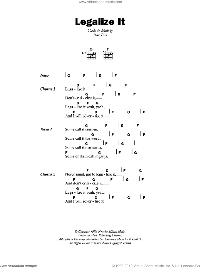 Legalize It sheet music for guitar (chords) by Peter Tosh