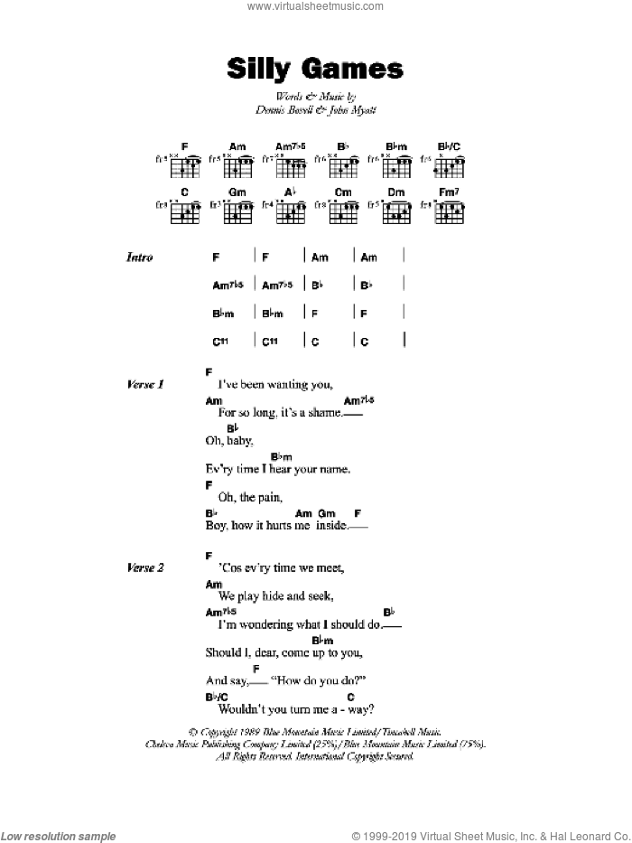 Silly Games sheet music for guitar (chords) by Dennis Bovell. Score Image Preview.