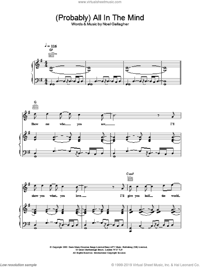 (Probably) All In The Mind sheet music for voice, piano or guitar by Oasis. Score Image Preview.
