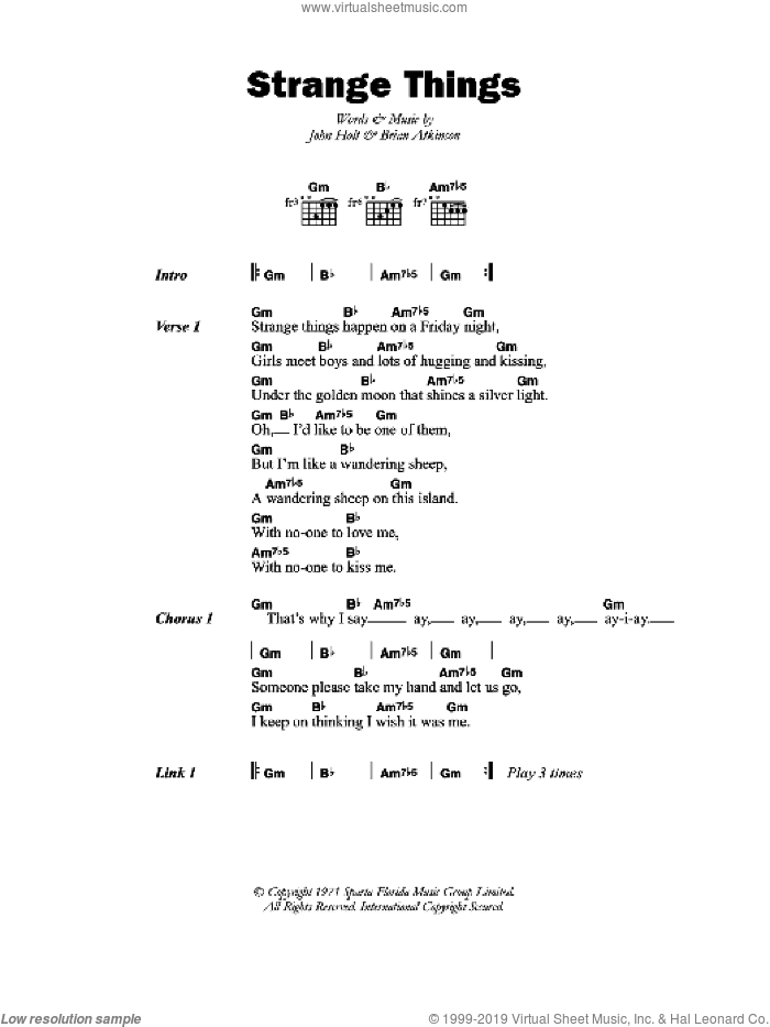 Strange Things sheet music for guitar (chords) by John Holt. Score Image Preview.