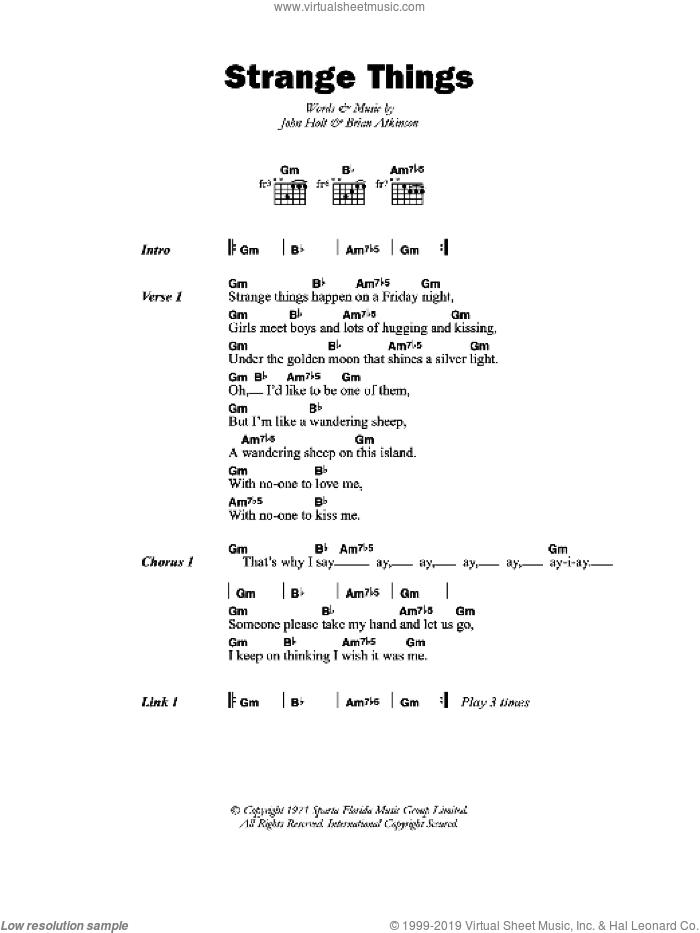 Holt - Strange Things sheet music for guitar (chords) [PDF]