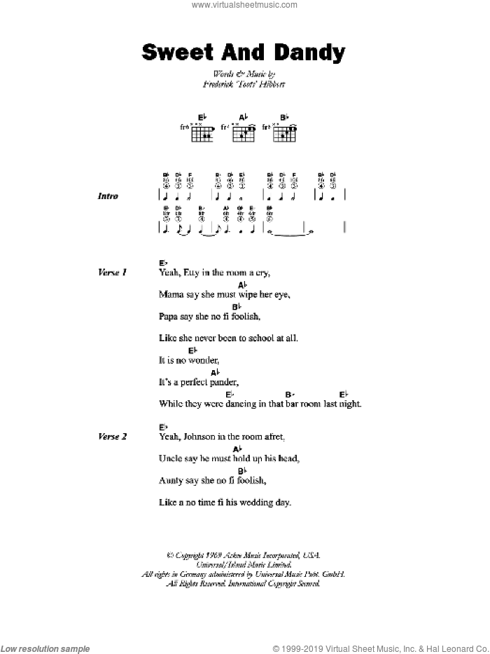 Sweet And Dandy sheet music for guitar (chords) by Frederick