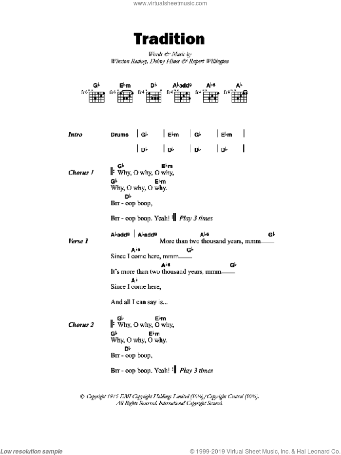 Tradition sheet music for guitar (chords) by Delroy Hines. Score Image Preview.