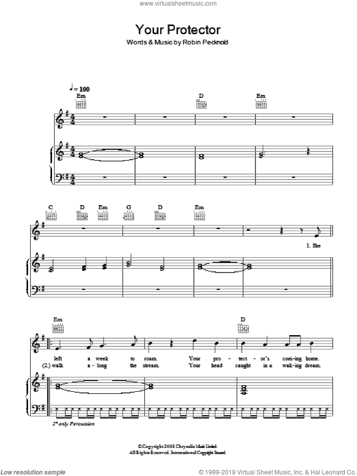 Your Protector sheet music for voice, piano or guitar by Fleet Foxes and Robin Pecknold, intermediate skill level