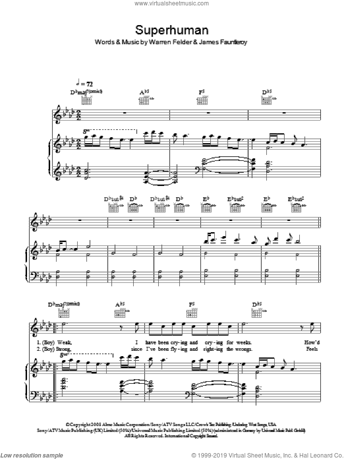 Superhuman sheet music for voice, piano or guitar by James Fauntleroy