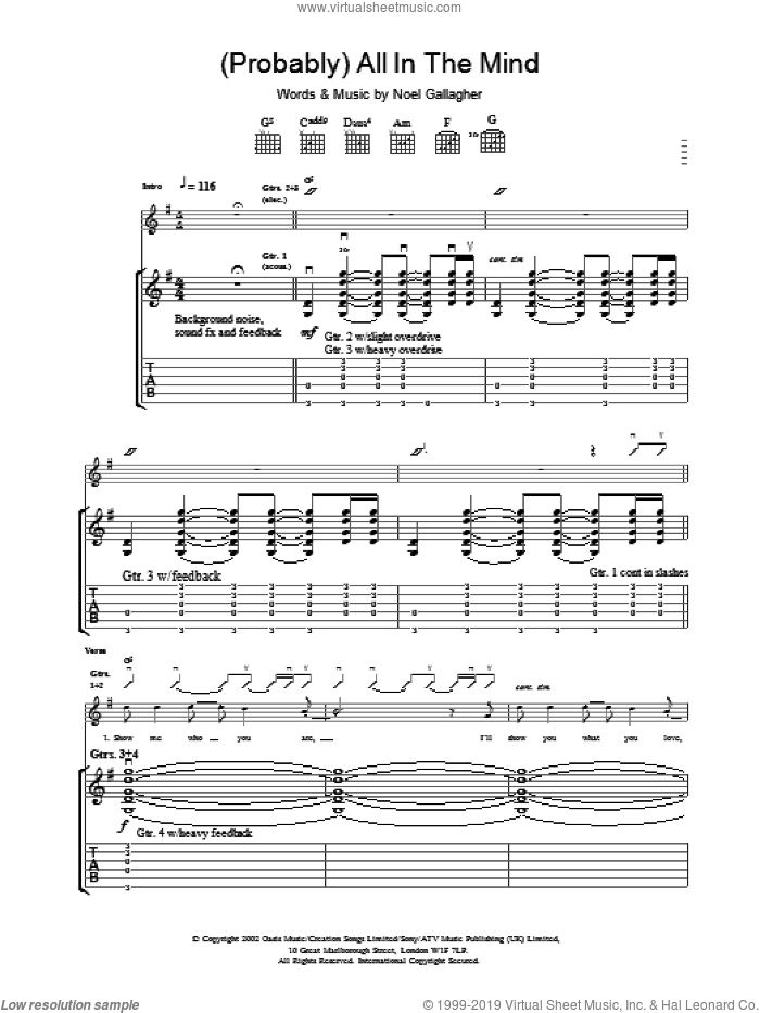 (Probably) All In The Mind sheet music for guitar (tablature) by Oasis. Score Image Preview.