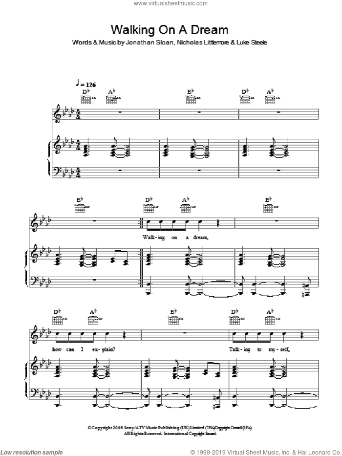 Walking On A Dream sheet music for voice, piano or guitar by Empire Of The Sun and Jonathan Sloan, intermediate voice, piano or guitar. Score Image Preview.