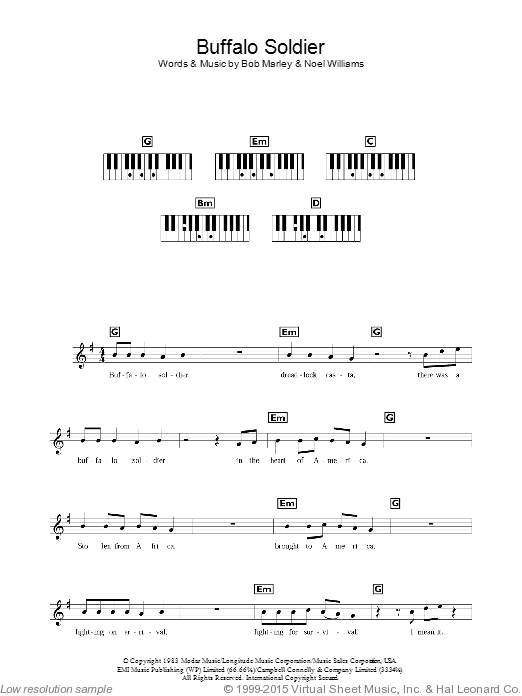 Buffalo Soldier sheet music for piano solo (chords, lyrics, melody) by Noel Williams