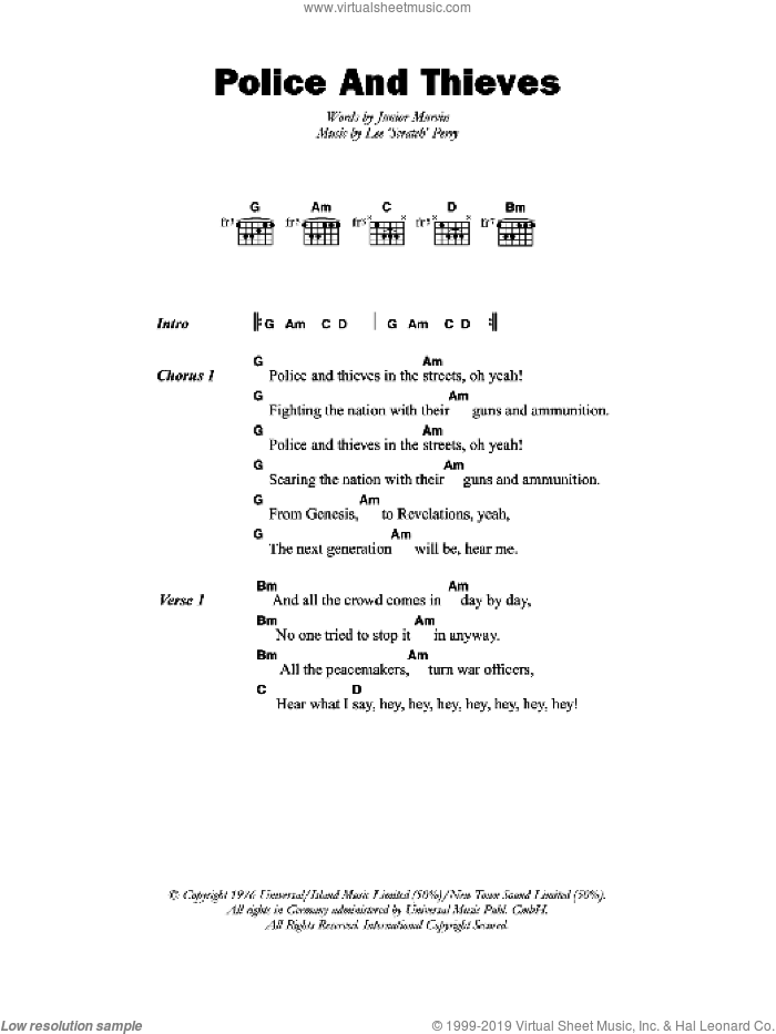 Police And Thieves sheet music for guitar (chords) by Lee Perry. Score Image Preview.