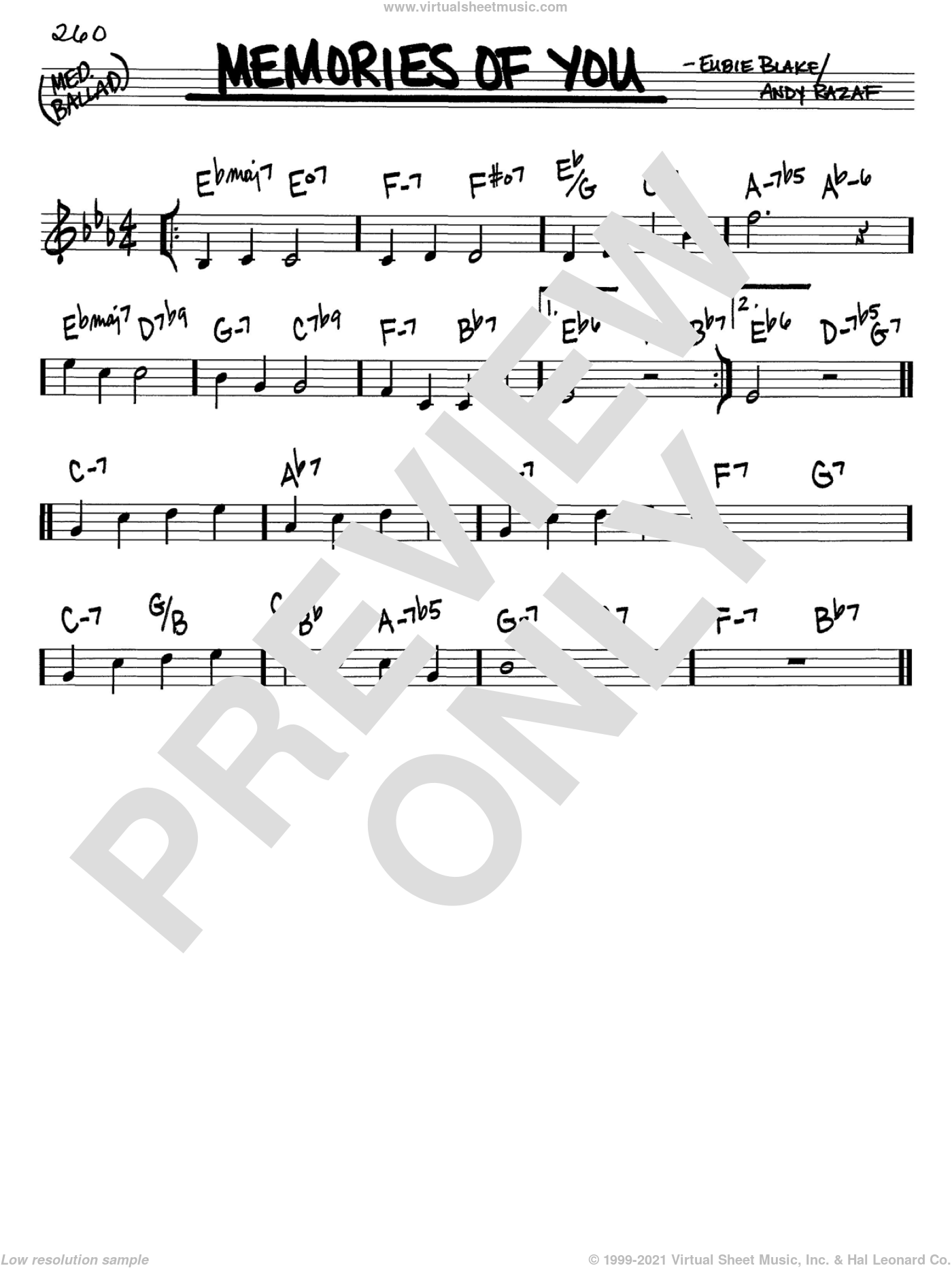 Memories Of You sheet music for voice and other instruments (C) by Eubie Blake