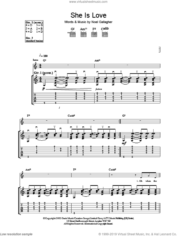 She Is Love sheet music for guitar (tablature) by Oasis. Score Image Preview.
