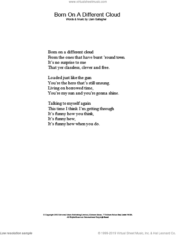 Oasis - Born On A Different Cloud sheet music (lyrics only) [PDF]