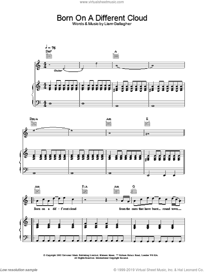 Born On A Different Cloud sheet music for voice, piano or guitar by Oasis, intermediate skill level
