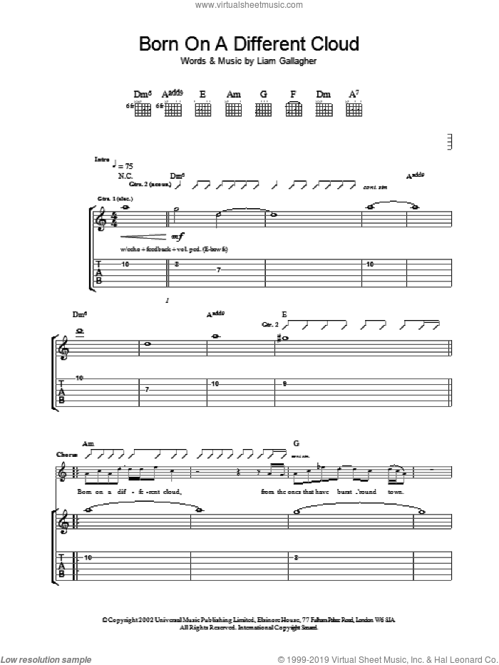 Born On A Different Cloud sheet music for guitar (tablature) by Oasis, intermediate. Score Image Preview.