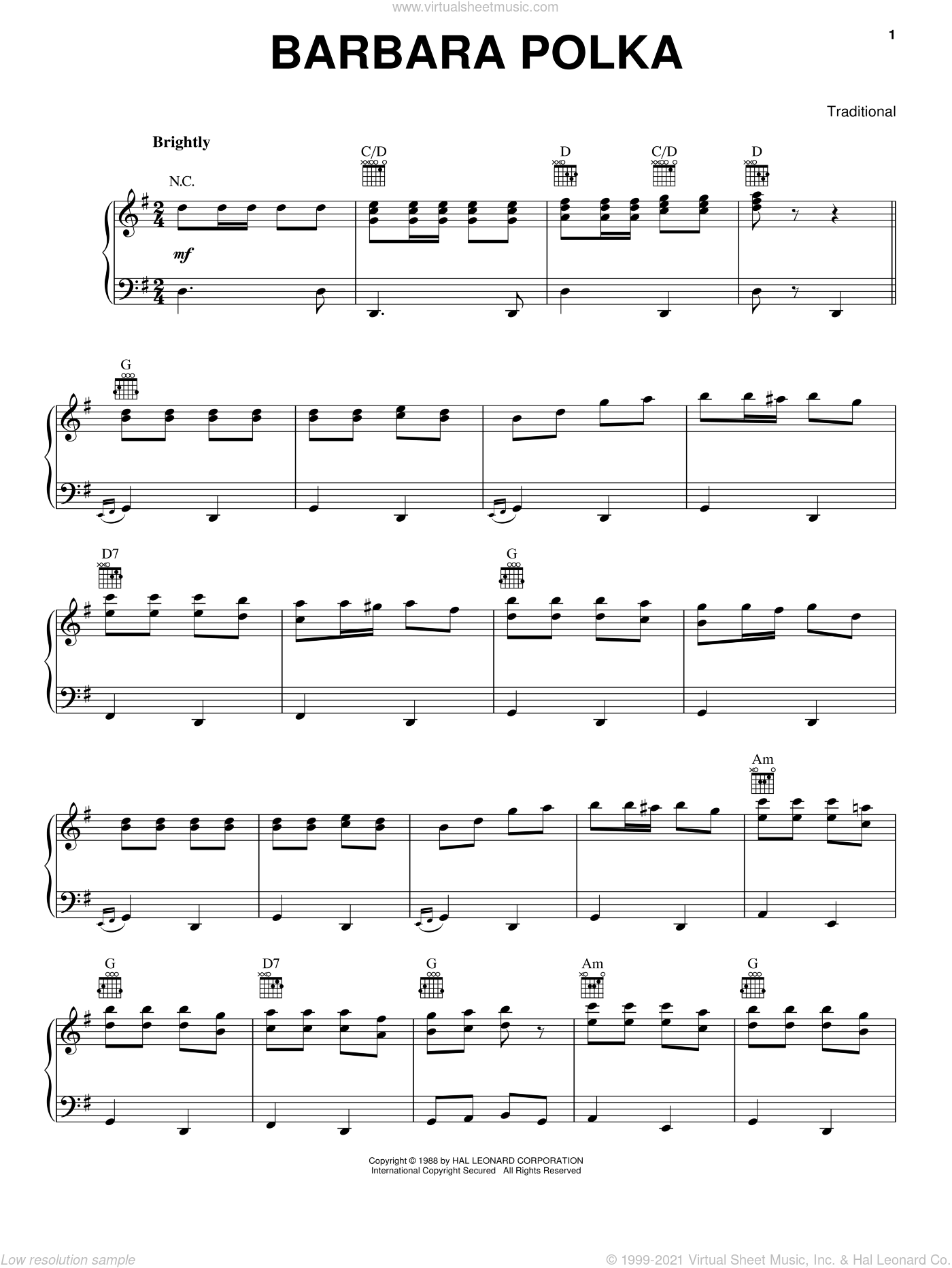 Barbara Polka sheet music for voice, piano or guitar