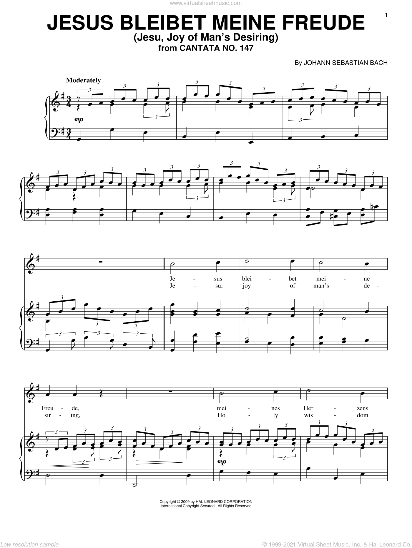 Jesus Bleibet Meine Freude sheet music for voice, piano or guitar by Johann Sebastian Bach, classical Christmas carol score, intermediate voice, piano or guitar. Score Image Preview.