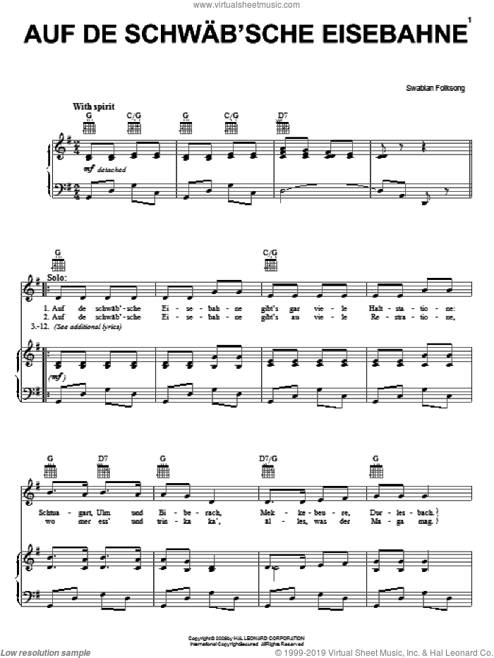 Auf De Schwab'sche Eisebahne sheet music for voice, piano or guitar, intermediate skill level