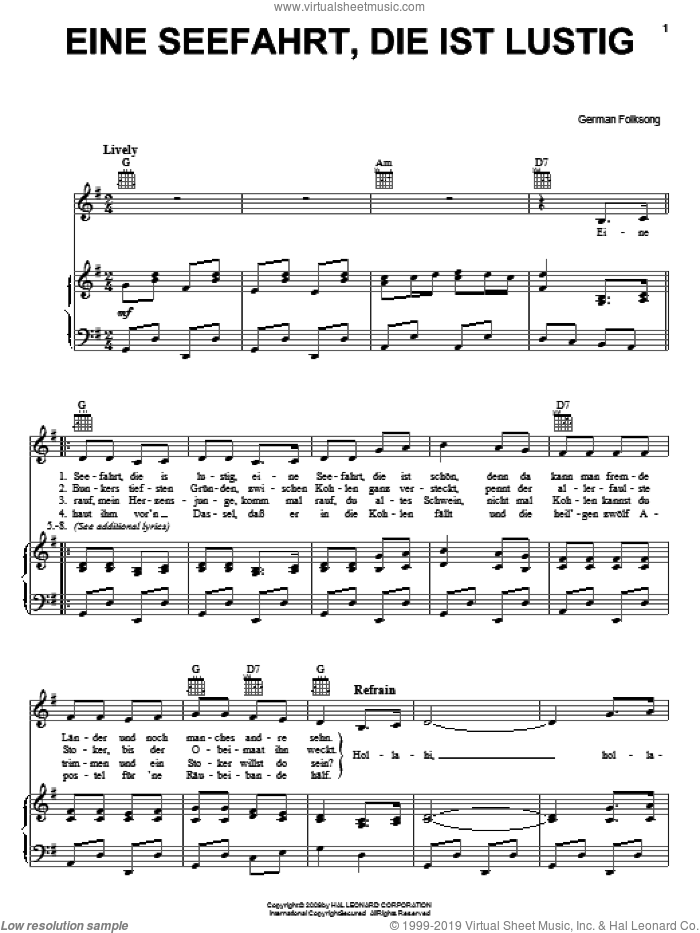 Eine Seefahrt, Die Ist Lustig sheet music for voice, piano or guitar, intermediate. Score Image Preview.