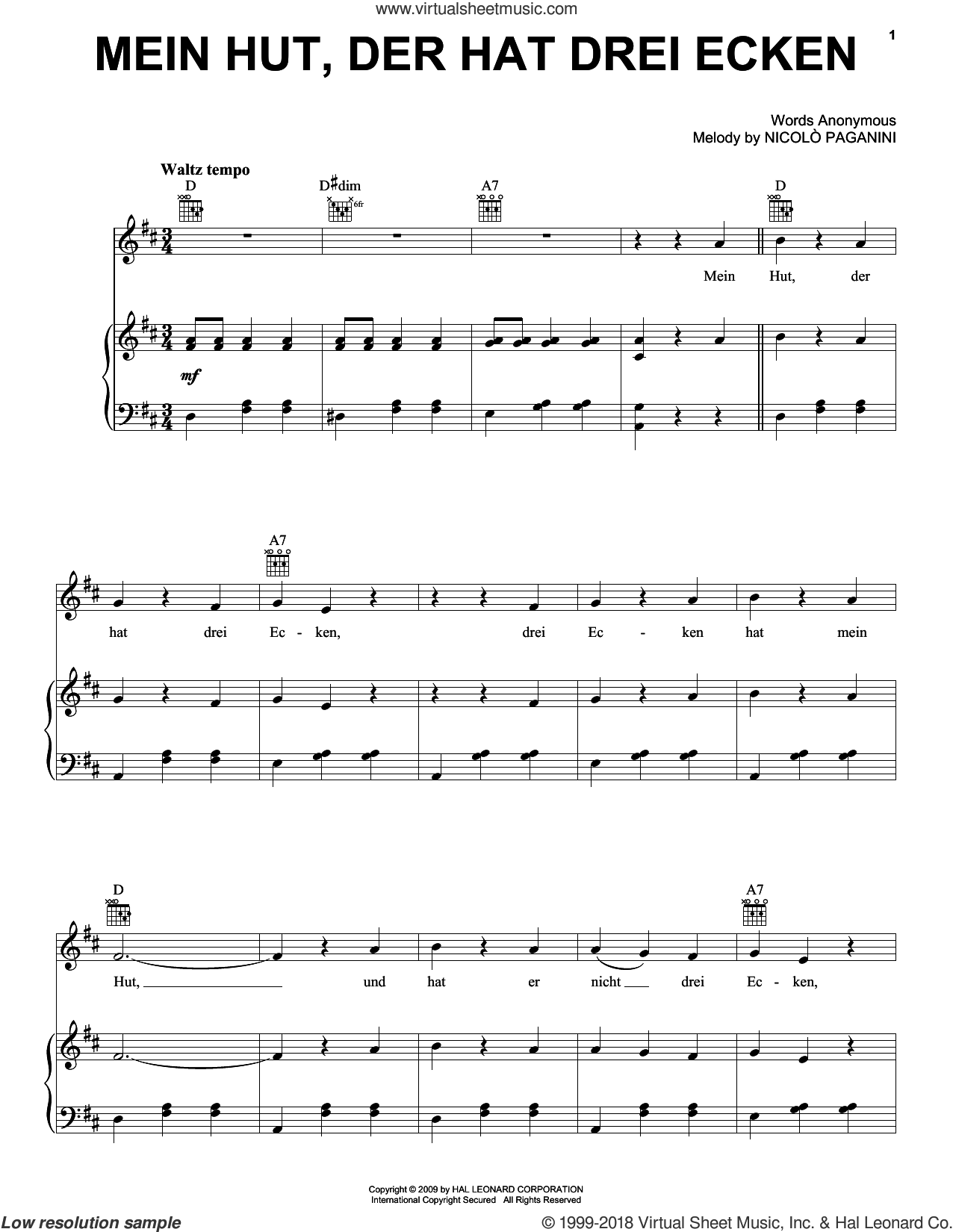 Mein Hut, Der Hat Drei Ecken sheet music for voice, piano or guitar by Nicolo Paganini, intermediate skill level