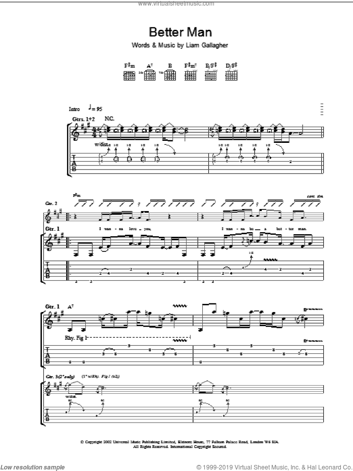 Better Man sheet music for guitar (tablature) by Oasis