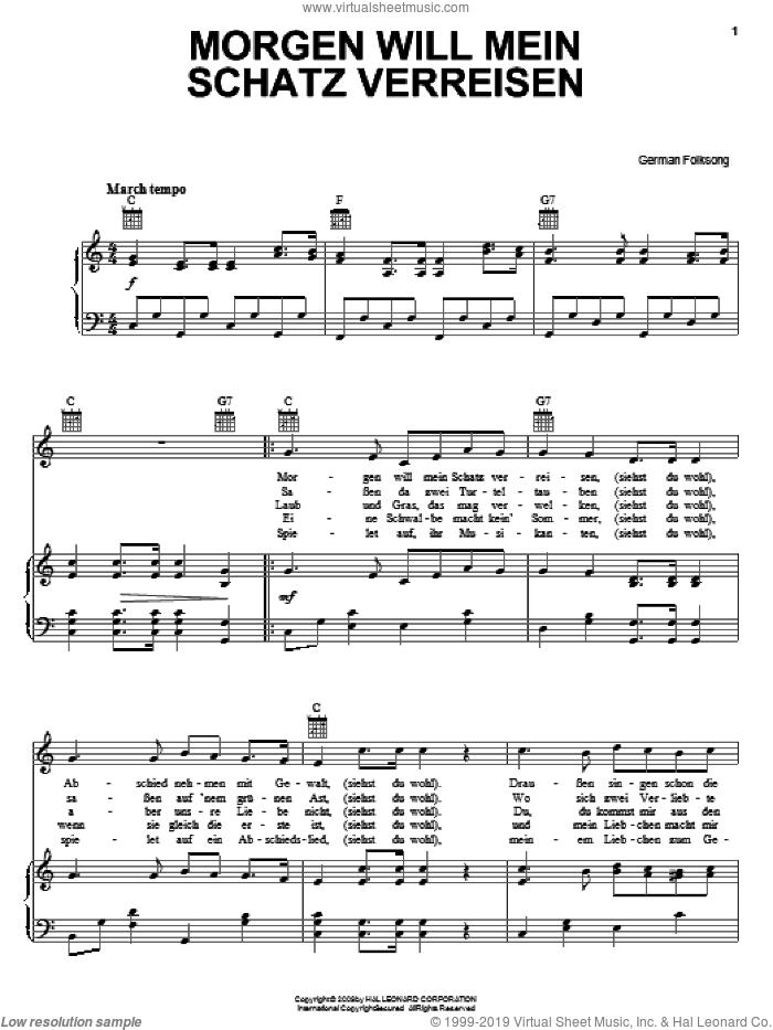 Morgen Will Mein Schatz Verreisen sheet music for voice, piano or guitar, intermediate skill level