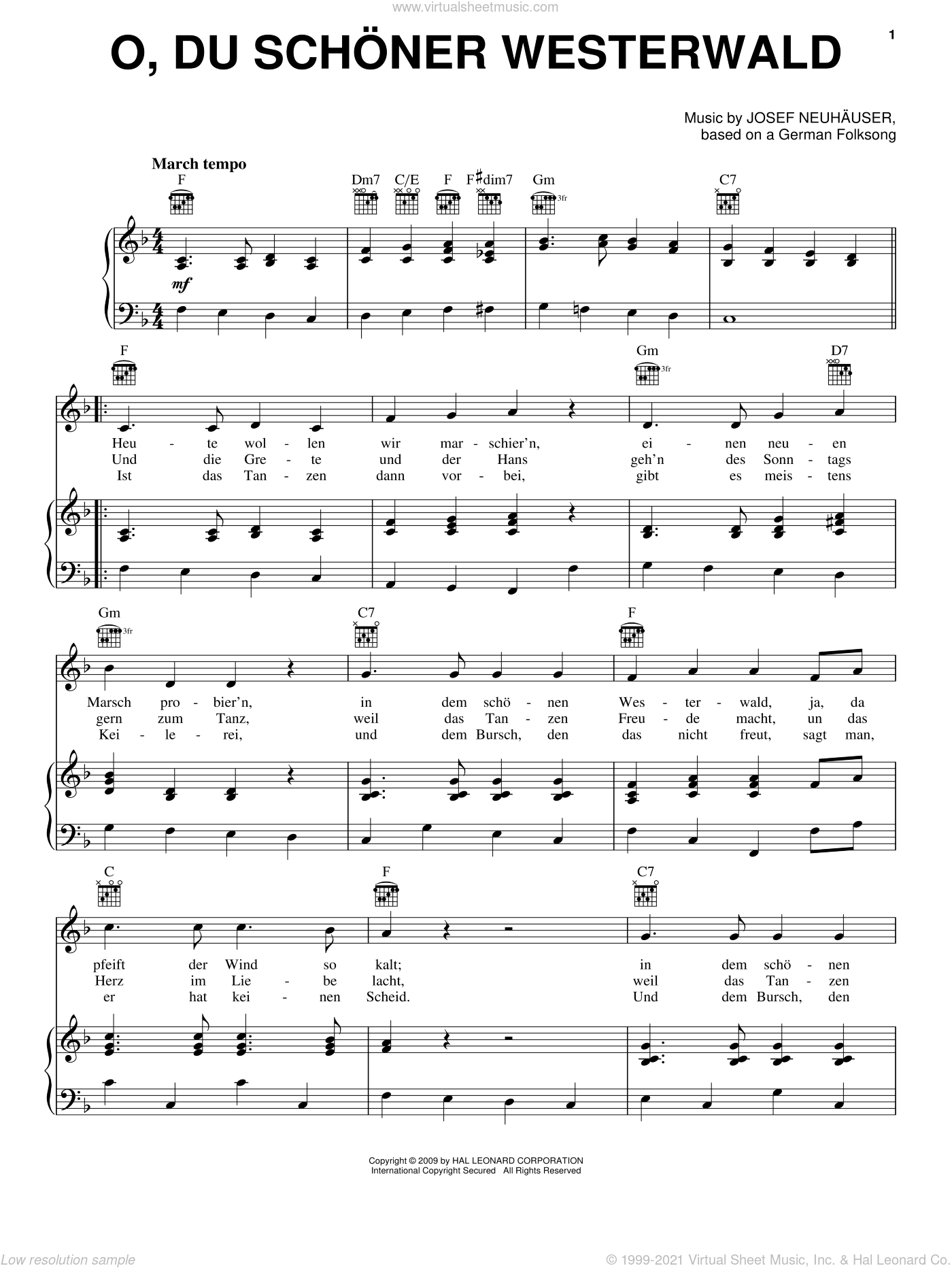 O, Du Schoner Westerwald sheet music for voice, piano or guitar by Josef Neuhauser and Miscellaneous, intermediate. Score Image Preview.