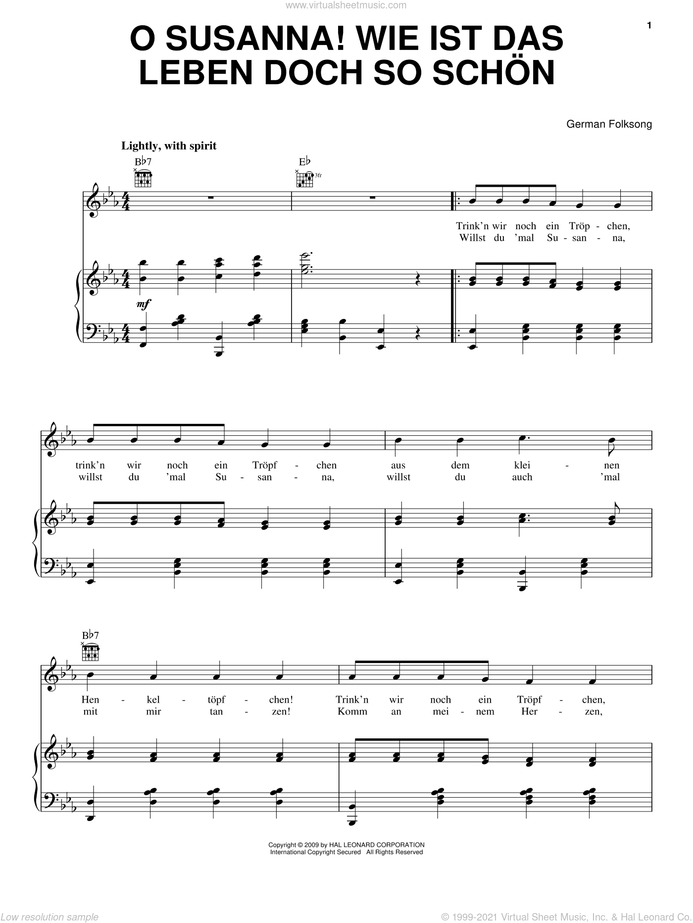 O Susanna! Wie Ist Das Leben So Schon sheet music for voice, piano or guitar, intermediate voice, piano or guitar. Score Image Preview.