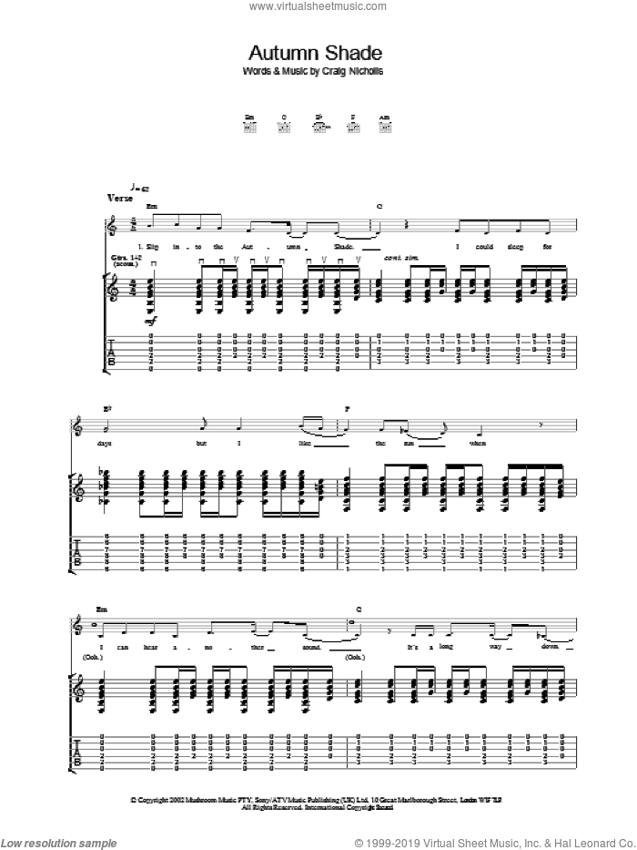 Autumn Shade sheet music for guitar (tablature) by The Vines. Score Image Preview.