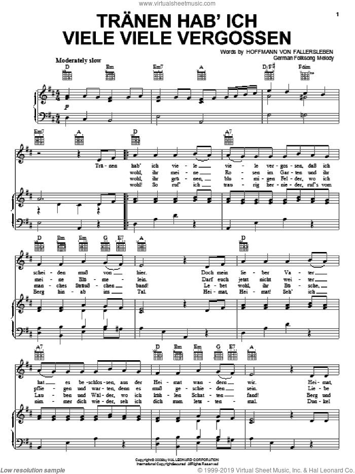 Tranen Hab'ich Viele Viele Vergossen sheet music for voice, piano or guitar by Hoffmann von Fallersleben and Miscellaneous, intermediate skill level