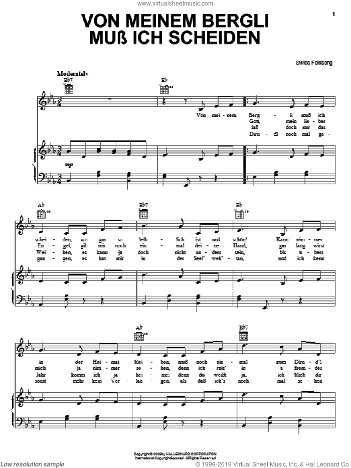 Von Meinem Bergli Muss Ich Scheiden sheet music for voice, piano or guitar, intermediate voice, piano or guitar. Score Image Preview.