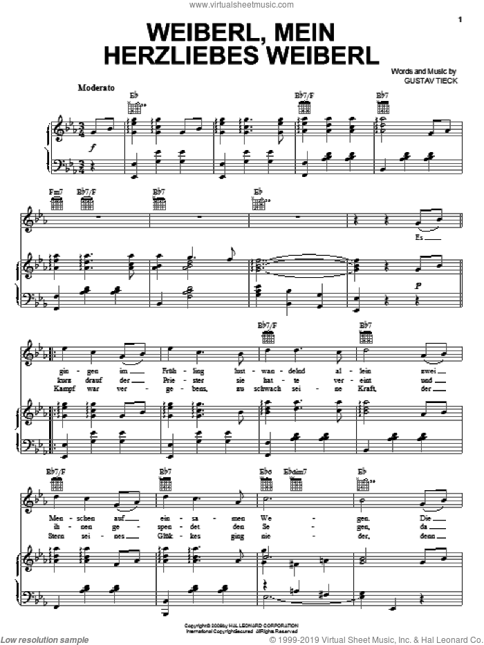 Weiberl, Mein Herzliebes Weiberl! sheet music for voice, piano or guitar by Gustav Tieck. Score Image Preview.