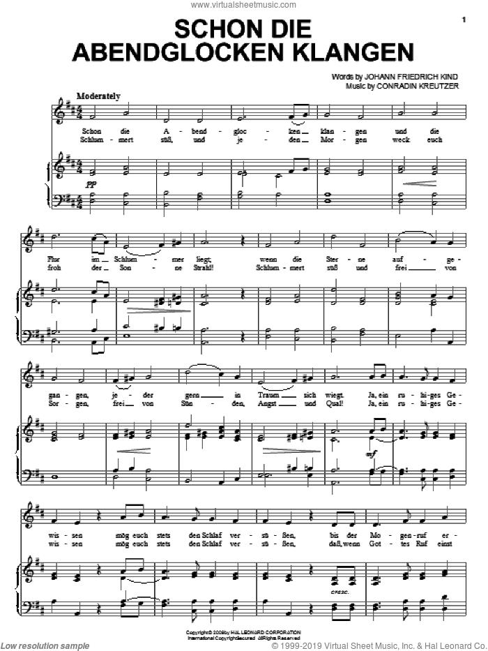 Schon Die Abendglocken Klangen sheet music for voice, piano or guitar by Conradin Kreutzer, intermediate skill level