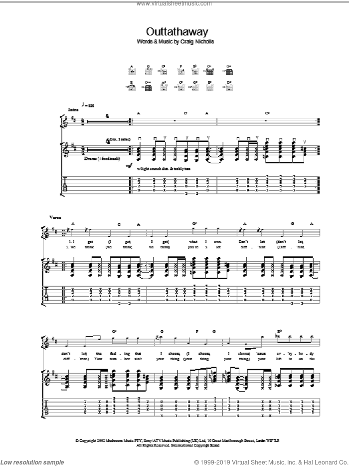 Outtathaway sheet music for guitar (tablature) by The Vines. Score Image Preview.