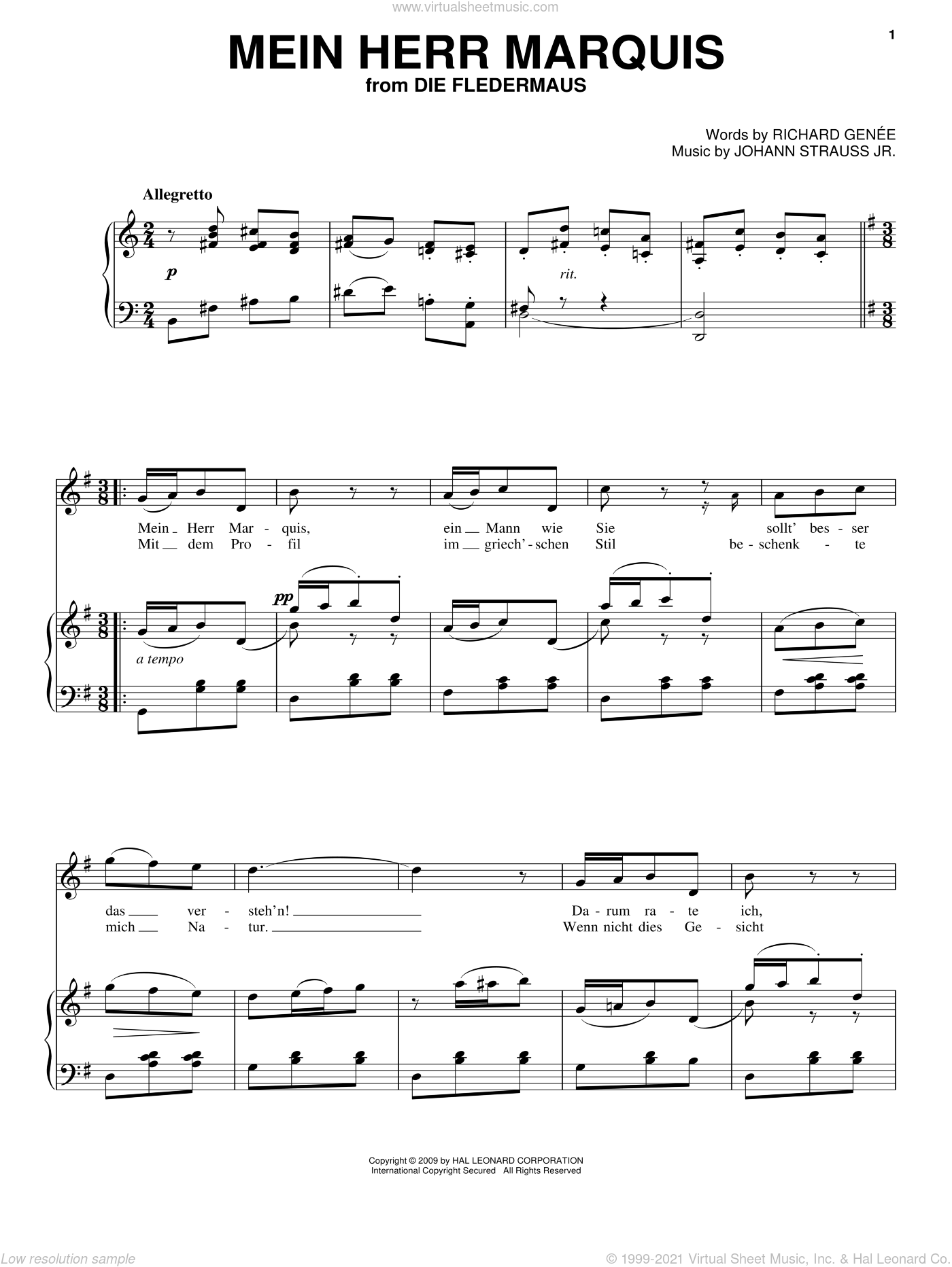 Mein Herr Marquis sheet music for voice, piano or guitar by Johann Strauss, Jr. and Richard Genee, classical score, intermediate skill level
