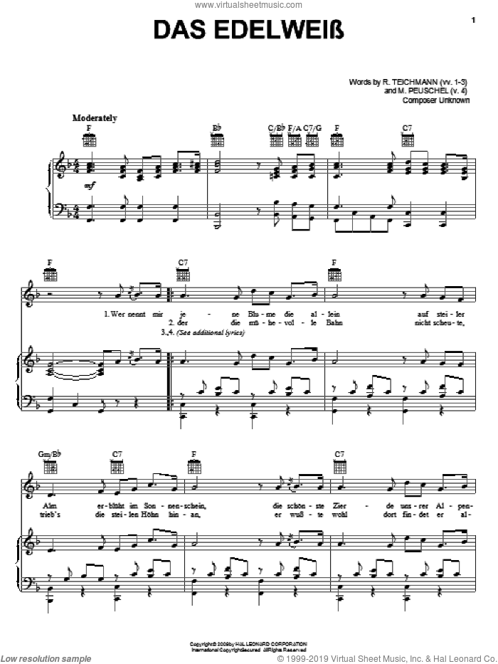 Das Edelweiss sheet music for voice, piano or guitar by R. Teichmann. Score Image Preview.