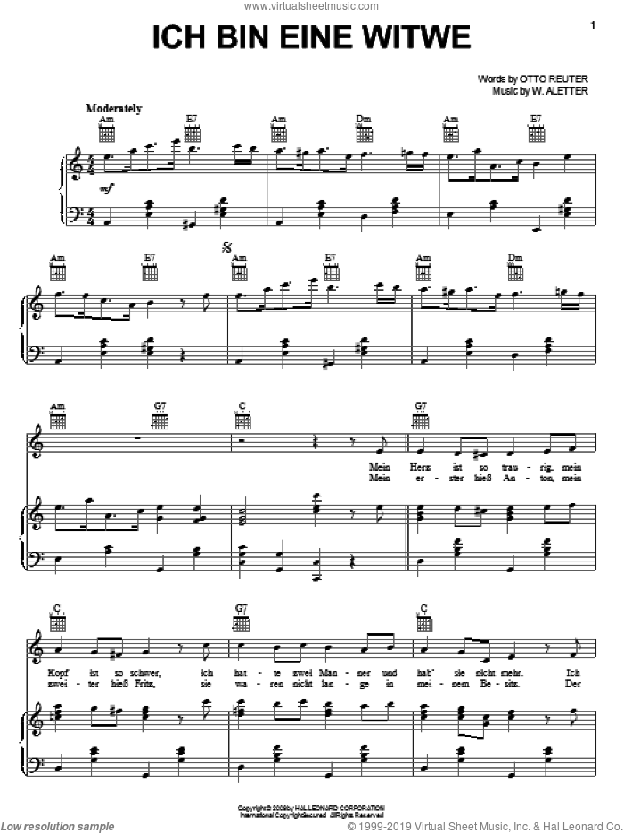 Ich Bin Eine Witwe sheet music for voice, piano or guitar by Otto Reuter, intermediate