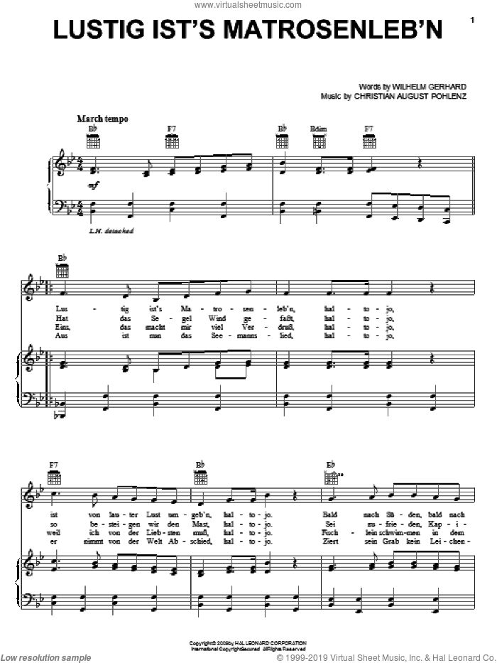 Lustig Ist's Matrosenleb'n sheet music for voice, piano or guitar by Wilhelm Gerhard. Score Image Preview.
