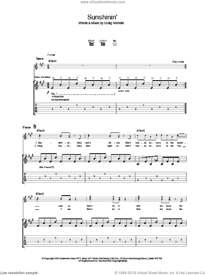 Sunshinin' sheet music for guitar (tablature) by The Vines. Score Image Preview.