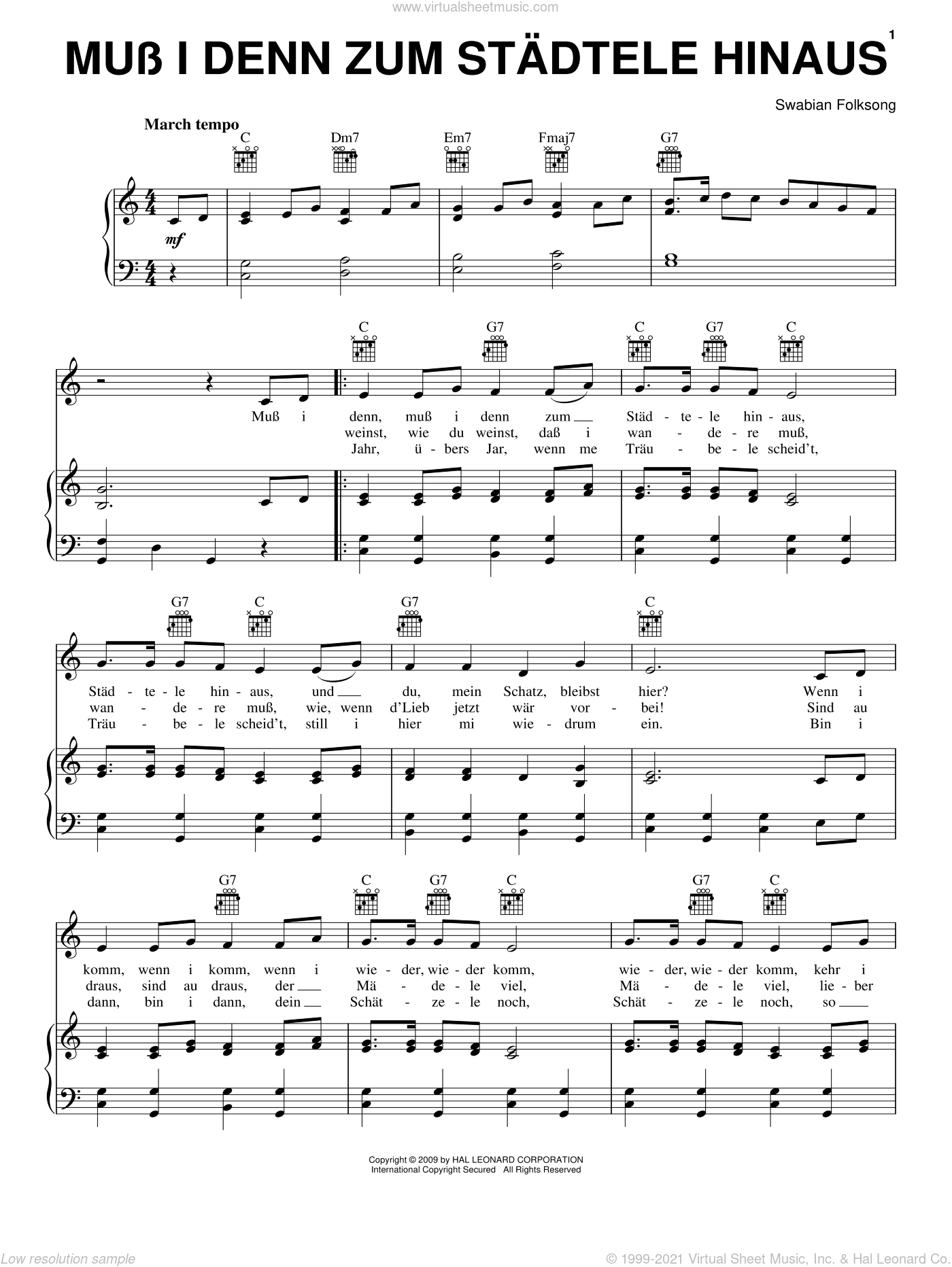 Muss I Denn Zum Stadtele Hinaus sheet music for voice, piano or guitar, intermediate voice, piano or guitar. Score Image Preview.