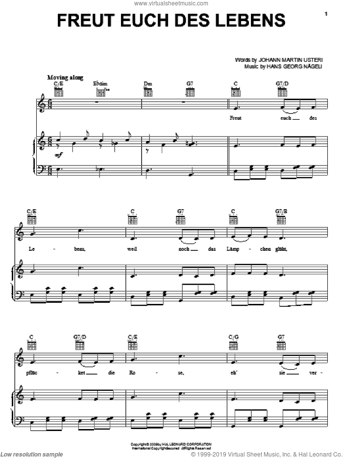 Freut Euch Des Lebens sheet music for voice, piano or guitar by Johann Martin Usteri and Hans Georg Nageli, intermediate voice, piano or guitar. Score Image Preview.