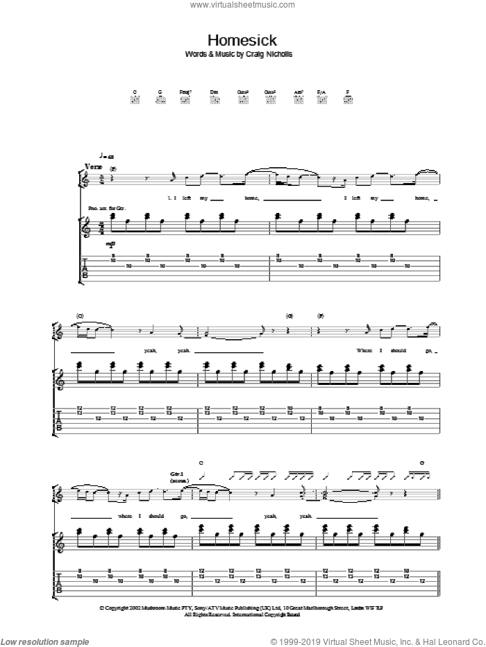 Homesick sheet music for guitar (tablature) by The Vines, intermediate guitar (tablature). Score Image Preview.