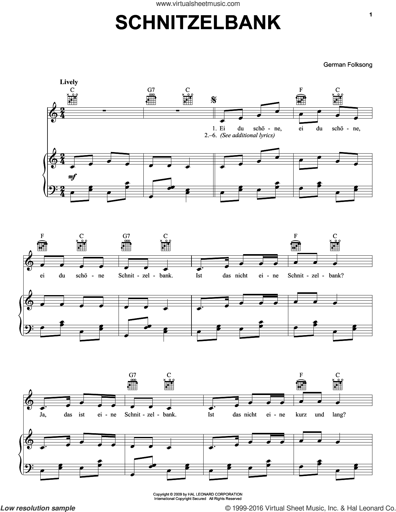 Schnitzelbank sheet music for voice, piano or guitar, intermediate skill level