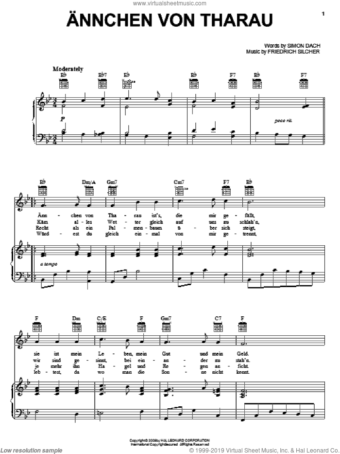 Annchen Von Tharau sheet music for voice, piano or guitar by Friedrich Silcher and Simon Dach, intermediate skill level