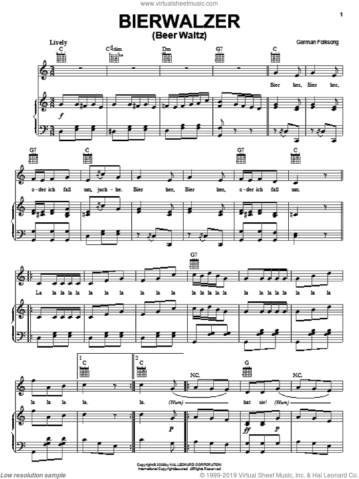 Bierwalzer sheet music for voice, piano or guitar. Score Image Preview.
