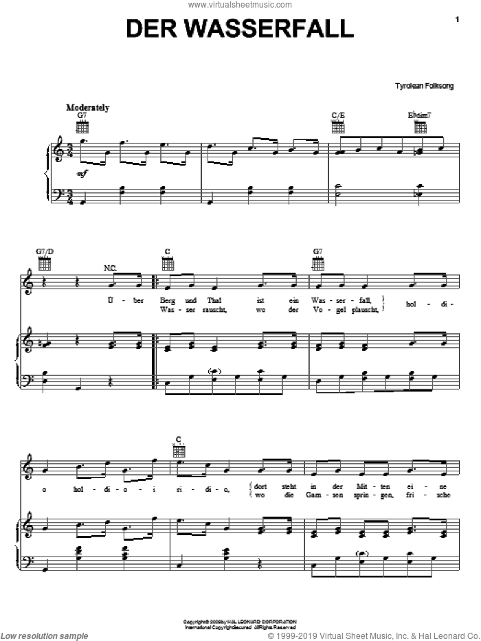 Der Wasserfall sheet music for voice, piano or guitar, intermediate skill level
